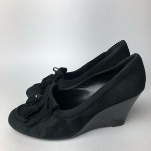 Coach oxford wedge heels black suede 8.5
